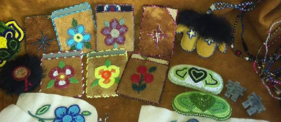 assortment of beaded items